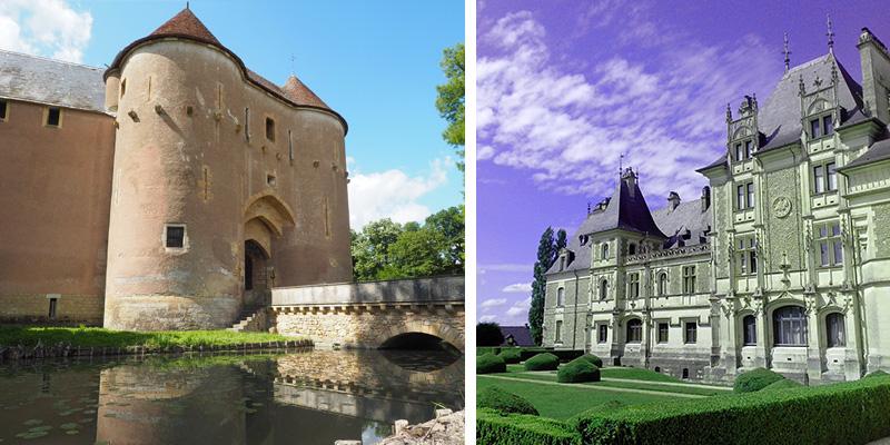 À gauche le Château d'Ainay-le-Vieil et à droite celui de Menetou-Salon ©Ad2T - V. Laebens