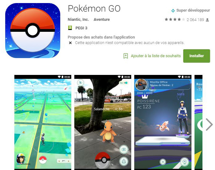 Application Pokémon Go