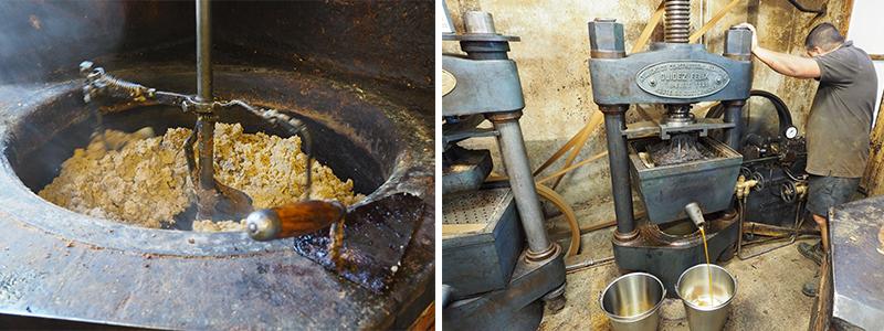 Chauffage et pressage de la pâte à noix pour obtenir l'huile ©Ad2T - V. Laebens