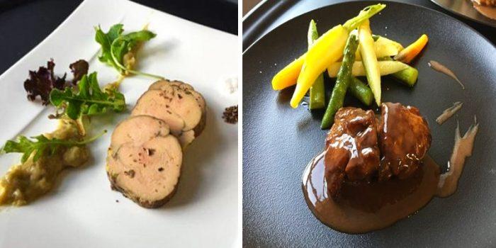 Fois gras de Canard de chez Hervé Chemel (à gauche) Ris de veau au jus de viande, sauce bordelaise (à droite)