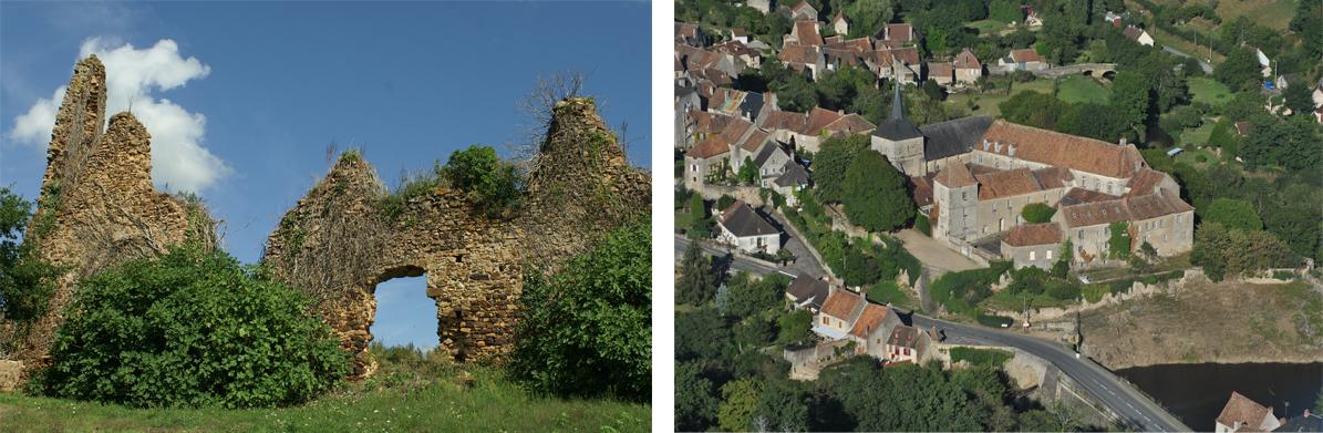Ruines © A. Nevière et vu aérienne de Lignac © Jean Michel Derei