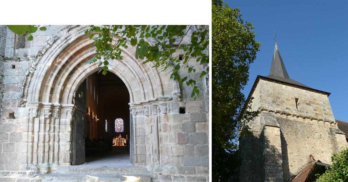Le porche roman et l'église Saint Benoît © A. NEVIERE