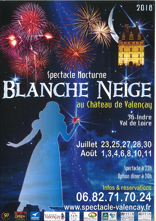 Affiche du spectacle nocturne Blanche Neige à Valençay