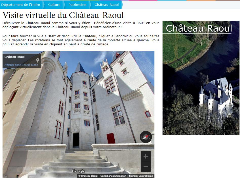 Visite virtuelle du Château-Raoul Département de l Indre