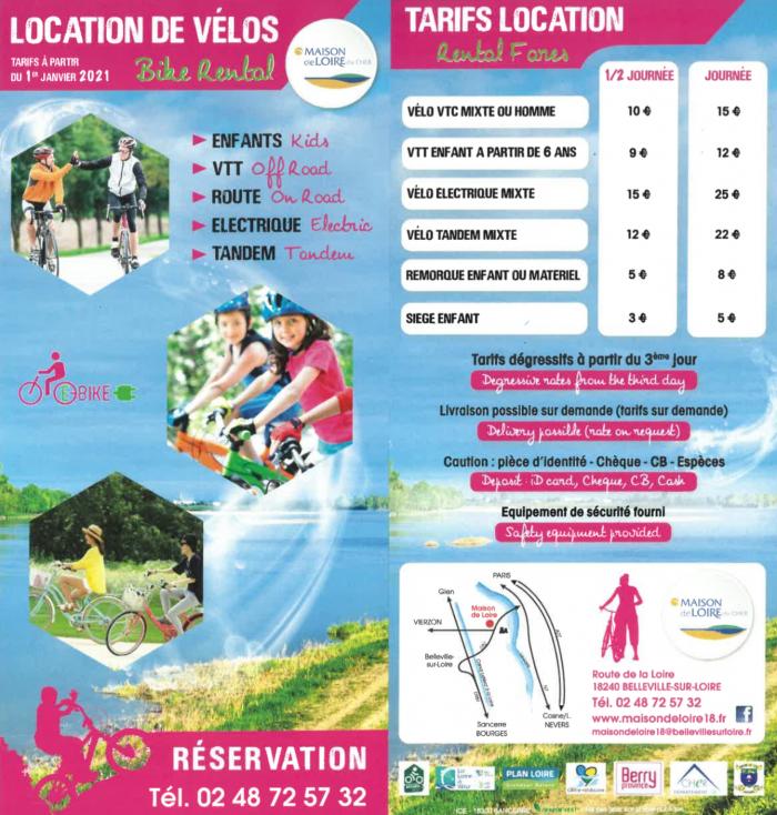 Tarifs location de vélo Belleville sur Loire